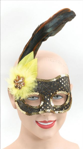 Black/Gold Sequin Face/Yellow Flower Eyemask Masquerade Ball Eye-Mask Eye Mask